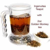 IngenuiTEA 16oz Teapot + 2oz Golden Monkey Black Tea Set